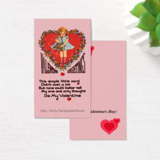 Vintage Valentines Heart Wreath & Girl Vert Cards