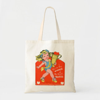 Vintage Valentines Kid's Card Your The Winner Girl Budget Tote Bag