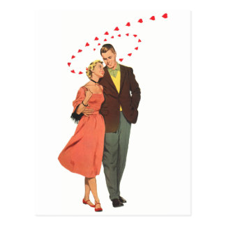 Vintage Valentines Lovers with Floating Hearts Postcard