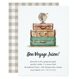 Vintage Valise   Going Away Party Invitation