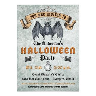 Vintage Vampire Bat Halloween Invitation