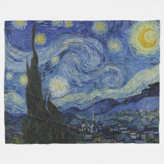 Vintage Van Gogh Starry Night Fleece Blanket