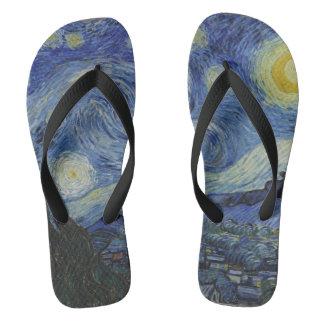 Vintage Van Gogh Starry Night Flip Flops