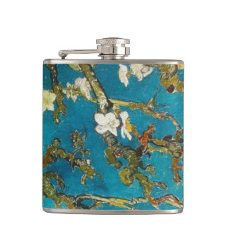 Vintage Van Gogh Turquoise Blossoming Tree Hip Flask
