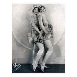 Vintage Vaudeville Dance Duo Feather Boas Postcard