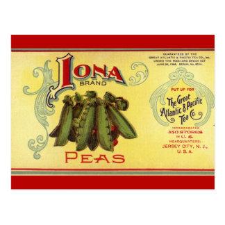 Vintage Vegetable Can Label Art, Iona Brand Peas Postcard