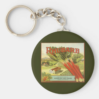 Vintage Vegetable Can Label Art, Rhubarb Farm Basic Round Button Keychain