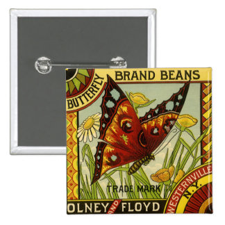 Vintage Vegetable Label Art, Butterfly Brand Beans 2 Inch Square Button