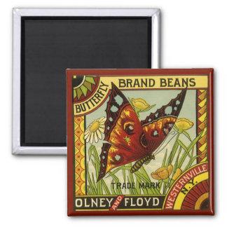 Vintage Vegetable Label Art, Butterfly Brand Beans Square Magnet