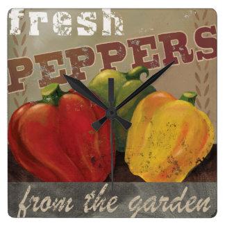 "Vintage Vegetable Label Art Clock ""Fresh Peppers"""