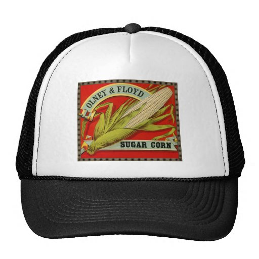 Vintage Vegetable Label; Olney & Floyd Sugar Corn Mesh Hats