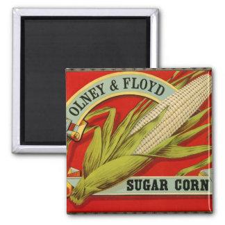 Vintage Vegetable Label, Olney & Floyd Sugar Corn Square Magnet