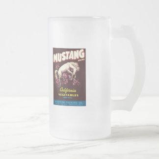 Vintage Vegetables Food Product Label Frosted Glass Beer Mug