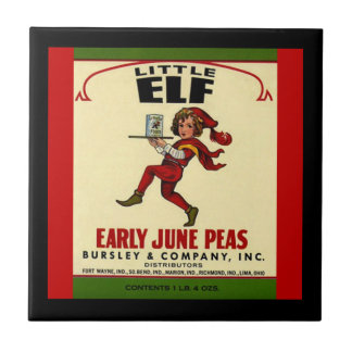 Vintage Veggie Can Little Elf June Peas Label Tile
