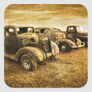 Vintage Vehicles Square Sticker