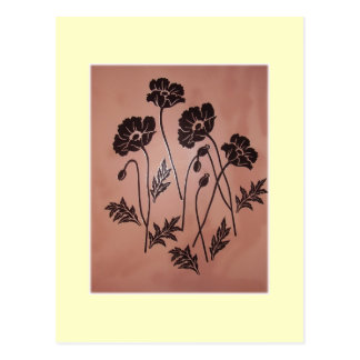 Vintage Velvet Poppies Postcard