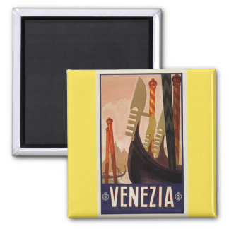 Vintage Venezia Venice Boats Poster Magnet
