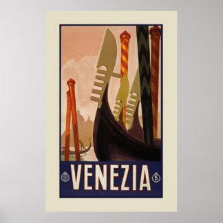 "Vintage Venezia | Venice Italy Travel (23.6x36"") Poster"