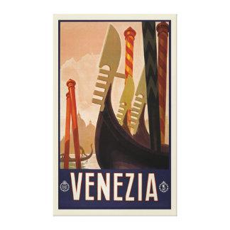 "Vintage Venezia Venice Italy Travel (26.5 x 43.5"") Canvas Print"