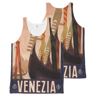 Vintage Venice Italy Travel Poster tank top
