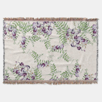 Vintage Vetch Wildflower Flowers Throw Blanket