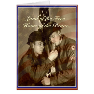 Vintage Veterans Day Land of the Free Greeting Card