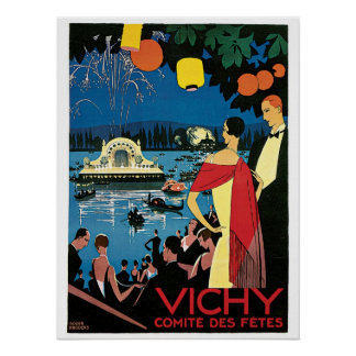 Vintage Vichy French 1920s Travel Ad Poster