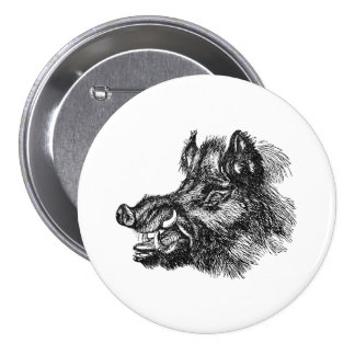 Vintage Vicious Wild Boar w Tusks Template 3 Inch Round Button