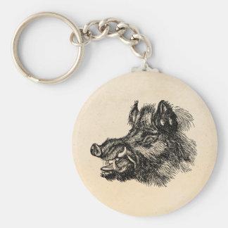 Vintage Vicious Wild Boar w Tusks Template Basic Round Button Keychain