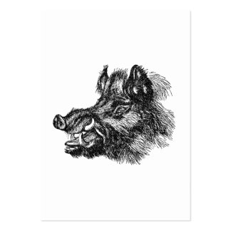 Vintage Vicious Wild Boar w Tusks Template Business Cards