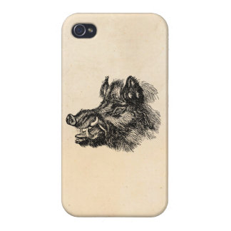 Vintage Vicious Wild Boar w Tusks Template Case For iPhone 4