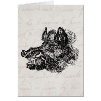 Vintage Vicious Wild Boar w Tusks Template Greeting Card