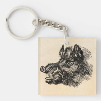 Vintage Vicious Wild Boar w Tusks Template Keychain