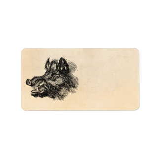 Vintage Vicious Wild Boar w Tusks Template Label