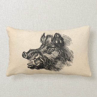 Vintage Vicious Wild Boar w Tusks Template Lumbar Pillow