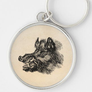 Vintage Vicious Wild Boar w Tusks Template Silver-Colored Round Keychain