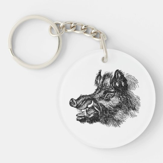 Vintage Vicious Wild Boar w Tusks Template Single-Sided Round Acrylic Keychain