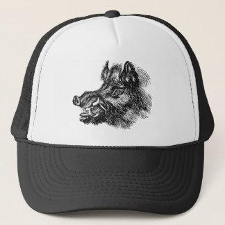 Vintage Vicious Wild Boar w Tusks Template Trucker Hat