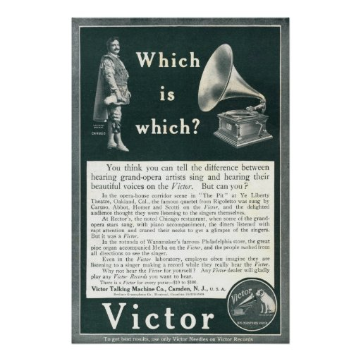 Vintage Victor Ad From 1908 Poster