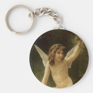 Vintage Victorian Angel, Prisoner by Bouguereau Basic Round Button Keychain