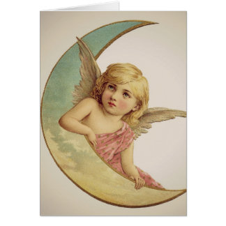 Vintage Victorian Angel Sitting on the Moon Card