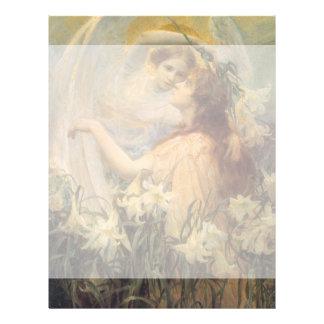 Vintage Victorian Art Angel's Message by Swinstead Personalized Letterhead