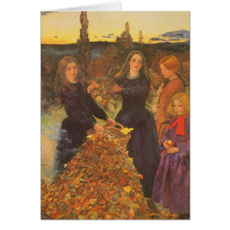 Vintage Victorian Art, Autumn Leaves by Millais Greeting Card