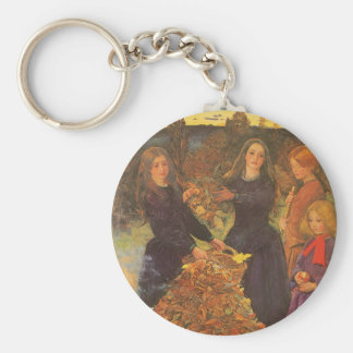 Vintage Victorian Art, Autumn Leaves by Millais Basic Round Button Keychain