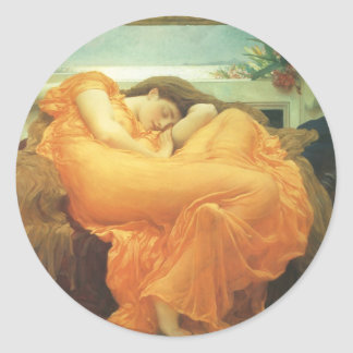 Vintage Victorian Art, Flaming June by Leighton Classic Round Sticker