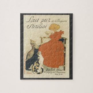 Vintage Victorian Art Nouveau, Girl with Milk Cats Puzzles