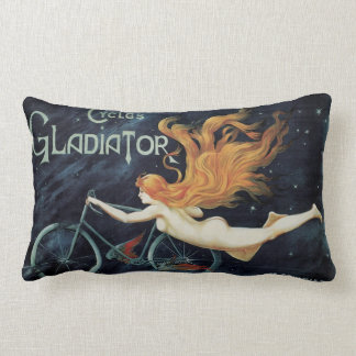 Vintage Victorian Art Nouveau, Gladiator Cycles Lumbar Pillow
