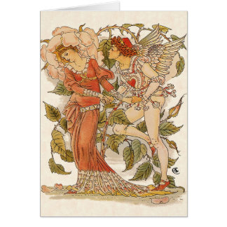 Vintage Victorian Art, Rose by Walter Crane Greeting Card