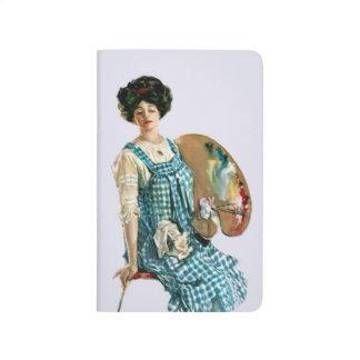 Vintage Victorian Artist Lady Painter Palette Journals