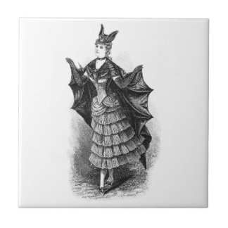 Vintage victorian bat women ceramic tiles